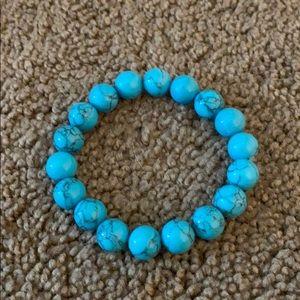 blue marble bead bracelet